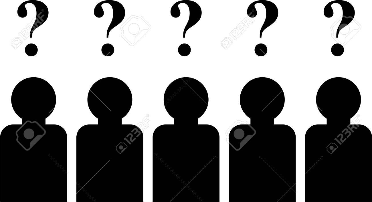 Design Define Silhouette simple isolated icon design of a group people with questions on their minds stock photo