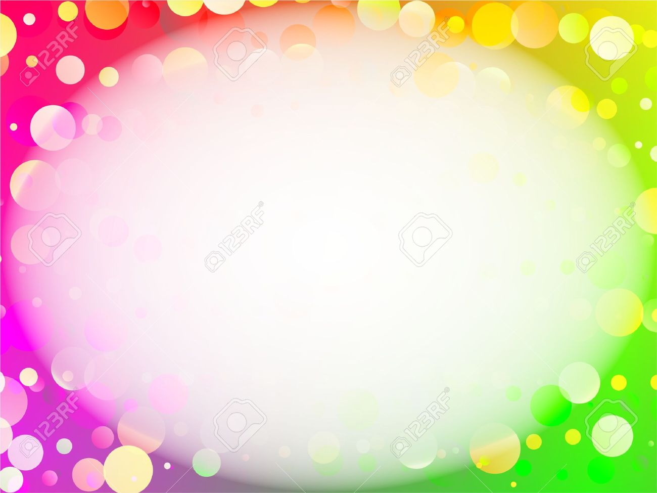 Abstract Rainbow Circles Background Page Border Design Stock Photo
