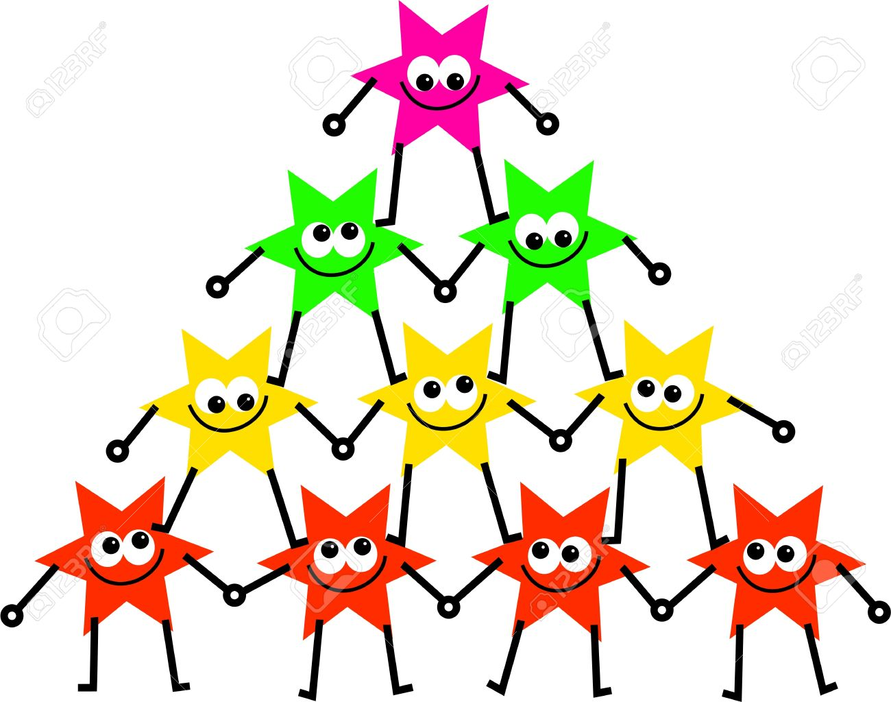 group of colourful cartoon star people forming a united tower