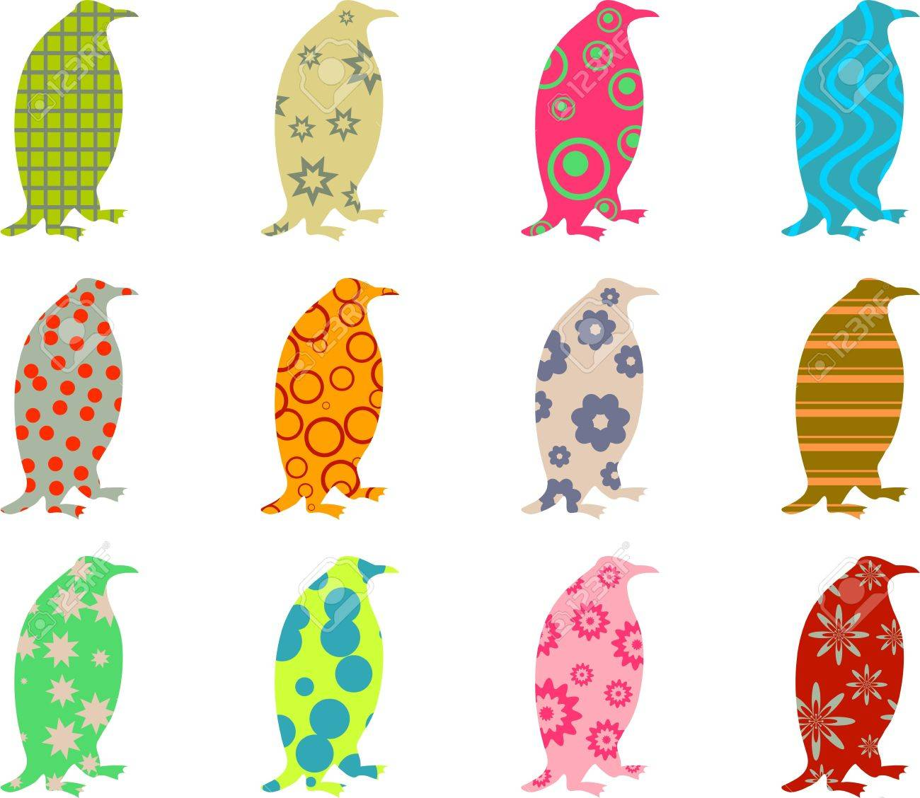 artistic colourful patterned penguin wallpaper background design Stock Photo - 3334420