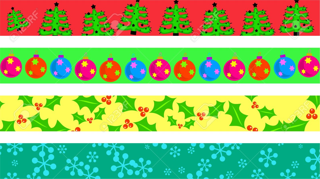 Christmas Page Border.Set Of Four Decorative Christmas Page Border Designs