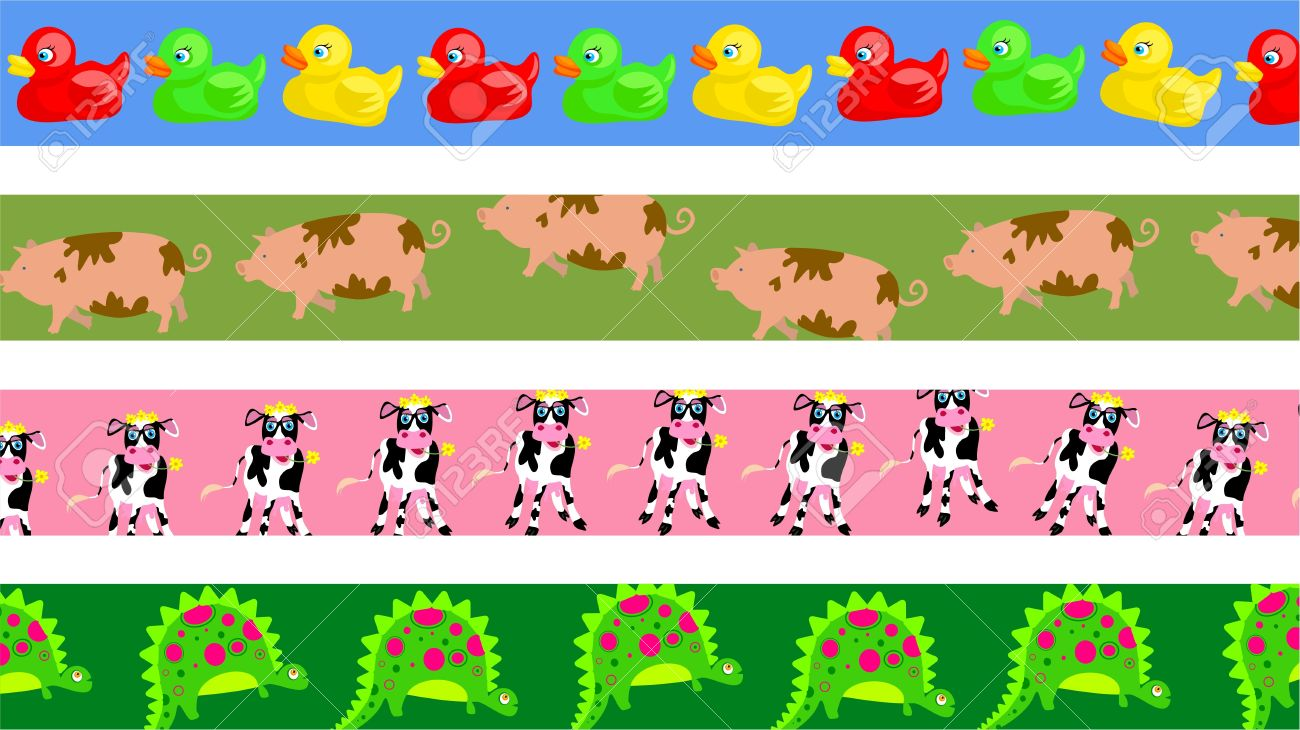 set of four cute animal page border designs stock photo picture