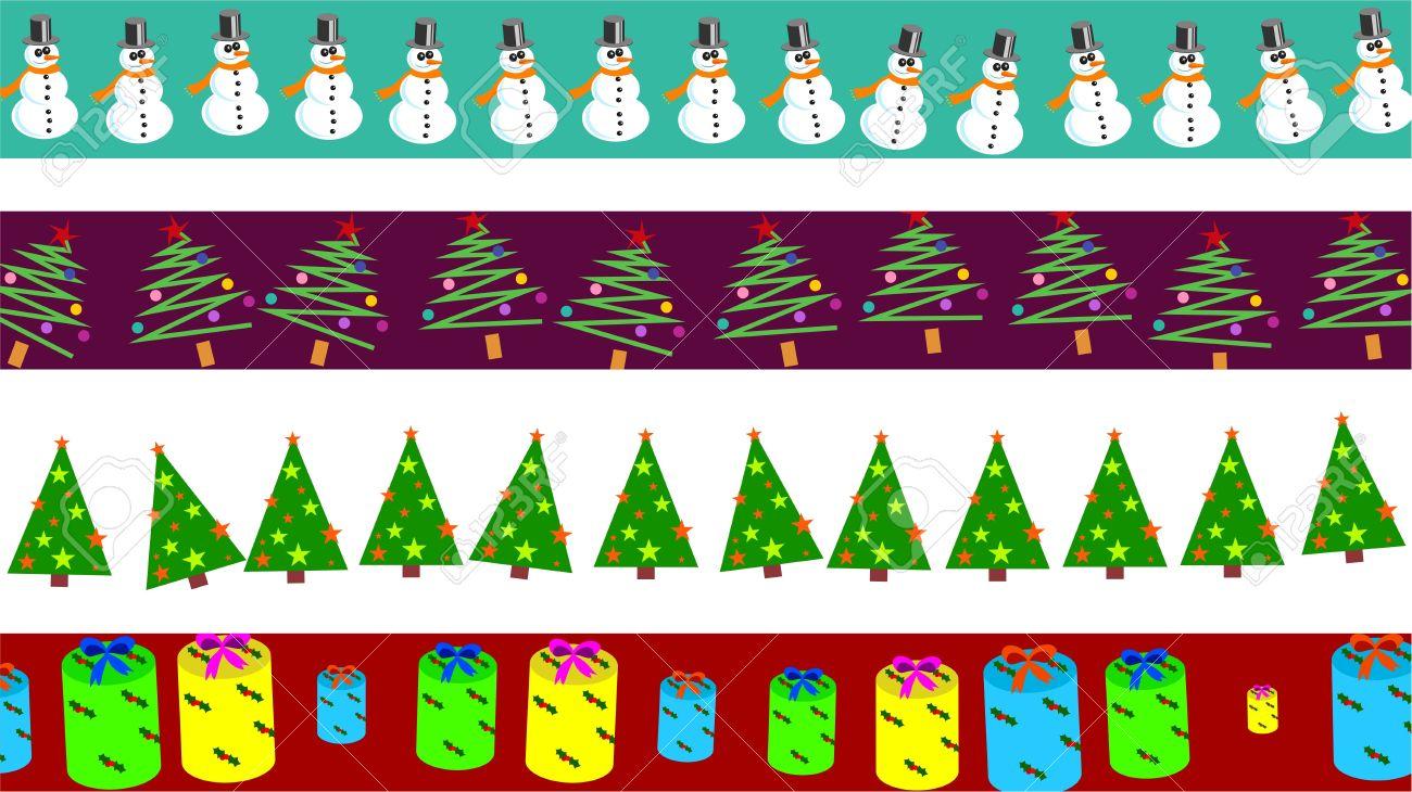 conjunto de los cuatro bordes de pgina de navidad decorativos y diseos de la bandera foto