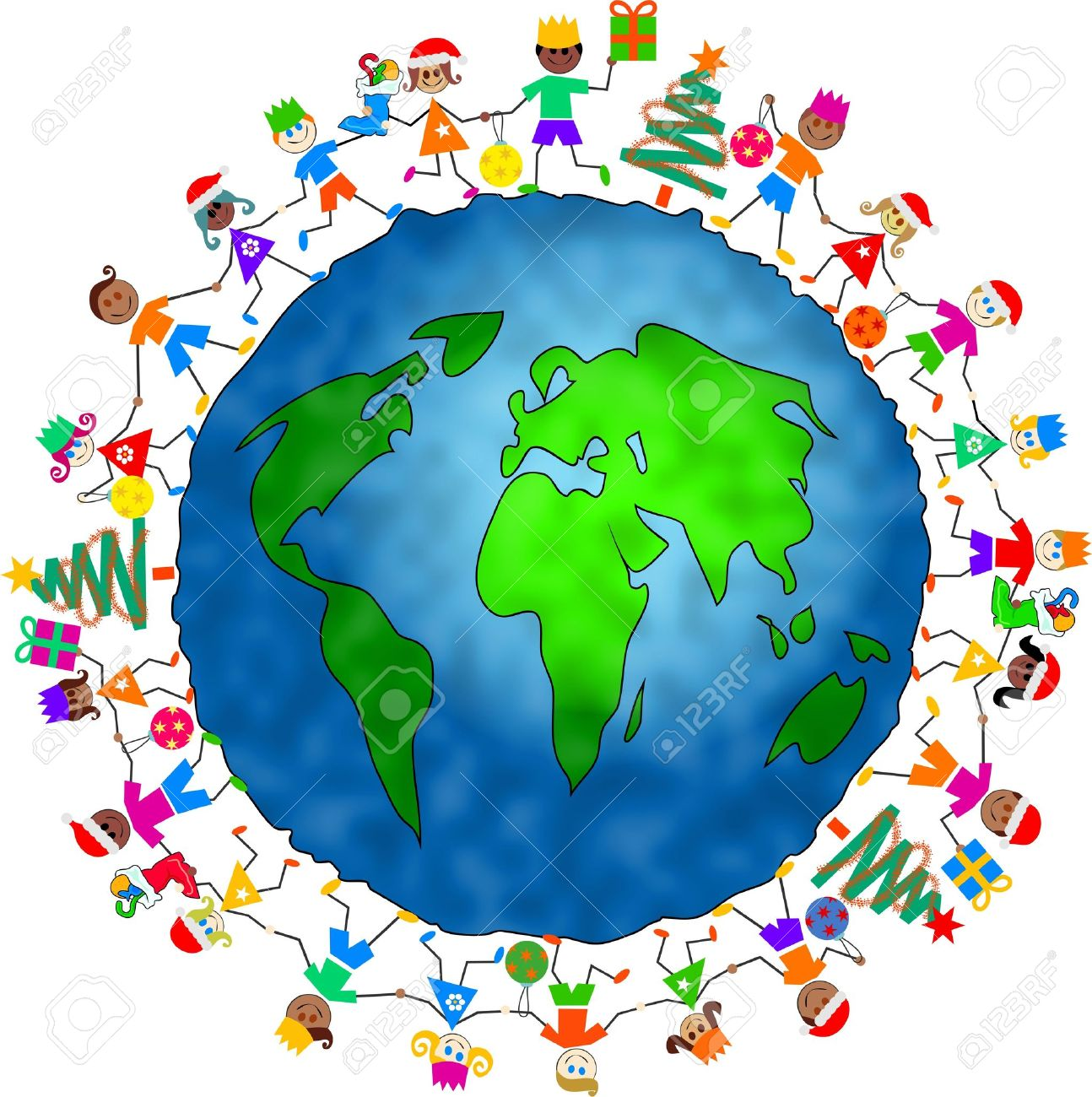 group of diverse children celebrating Christmas holding hands around the globe together Stock Photo - 3482168