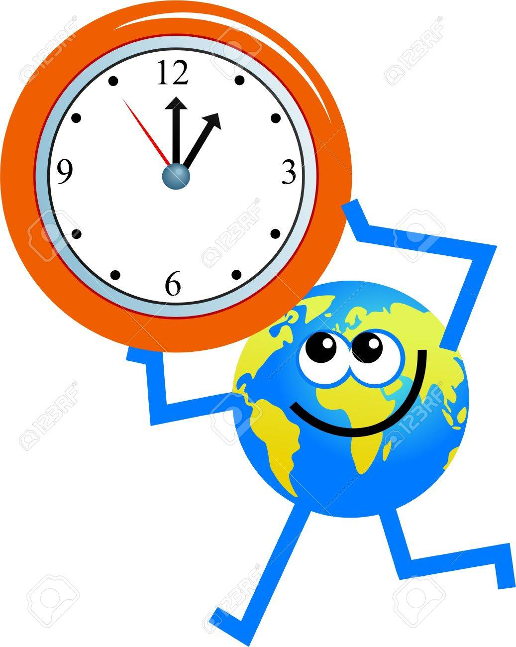 Cartoon Globe Man Holding Up A Clock Stock Photo Picture And