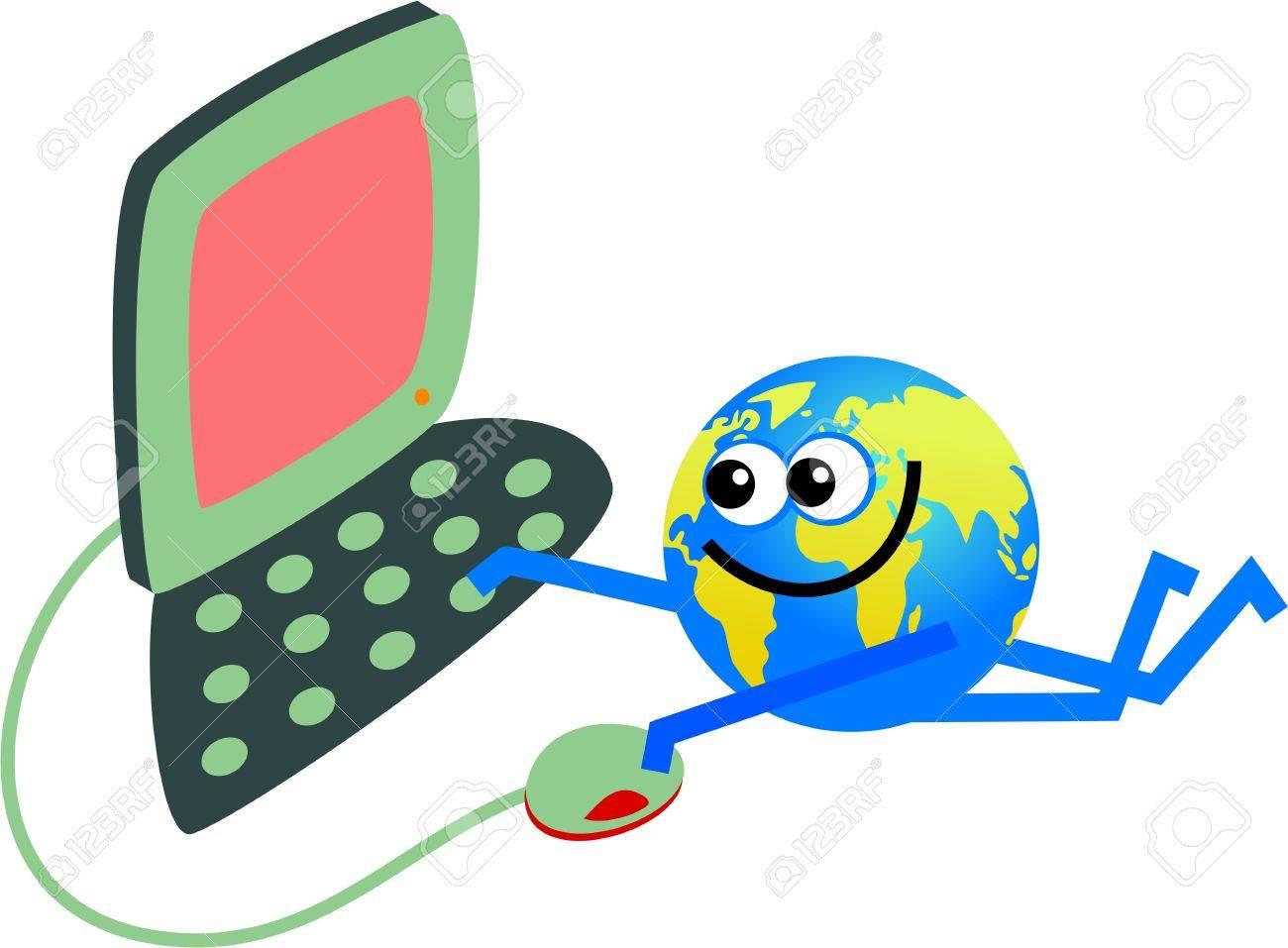 Happy Cartoon World Globe Man Working On A Computer Stock Photo ...