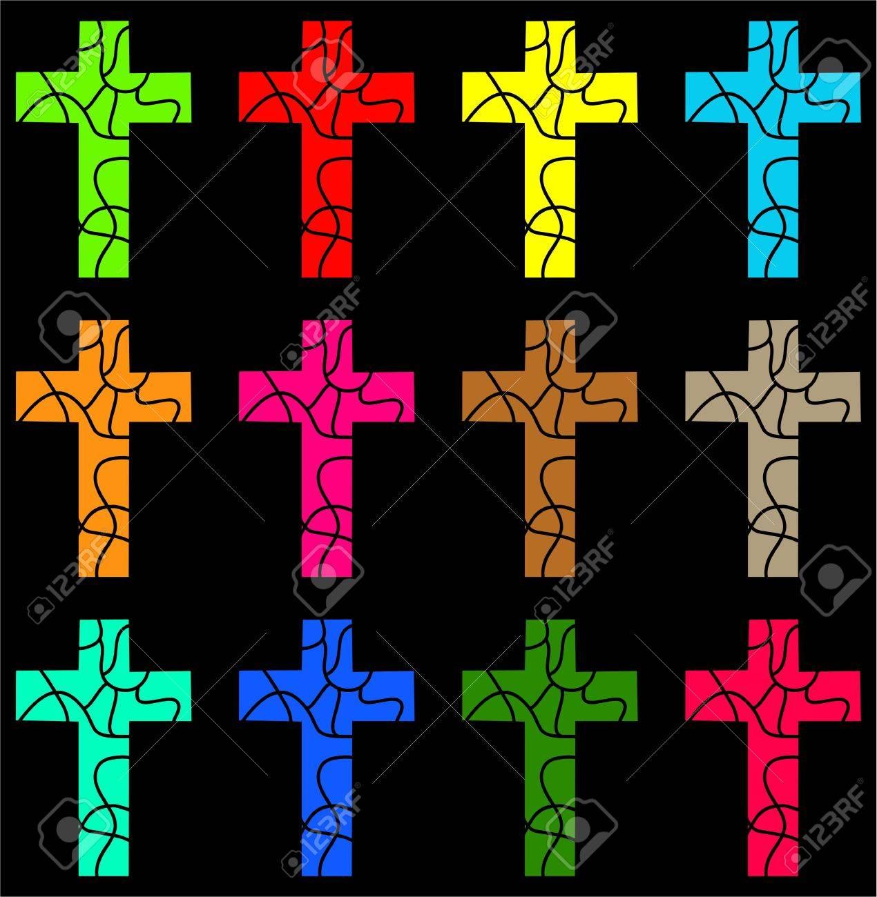 Christian Cross Pattern colourful Christian cross