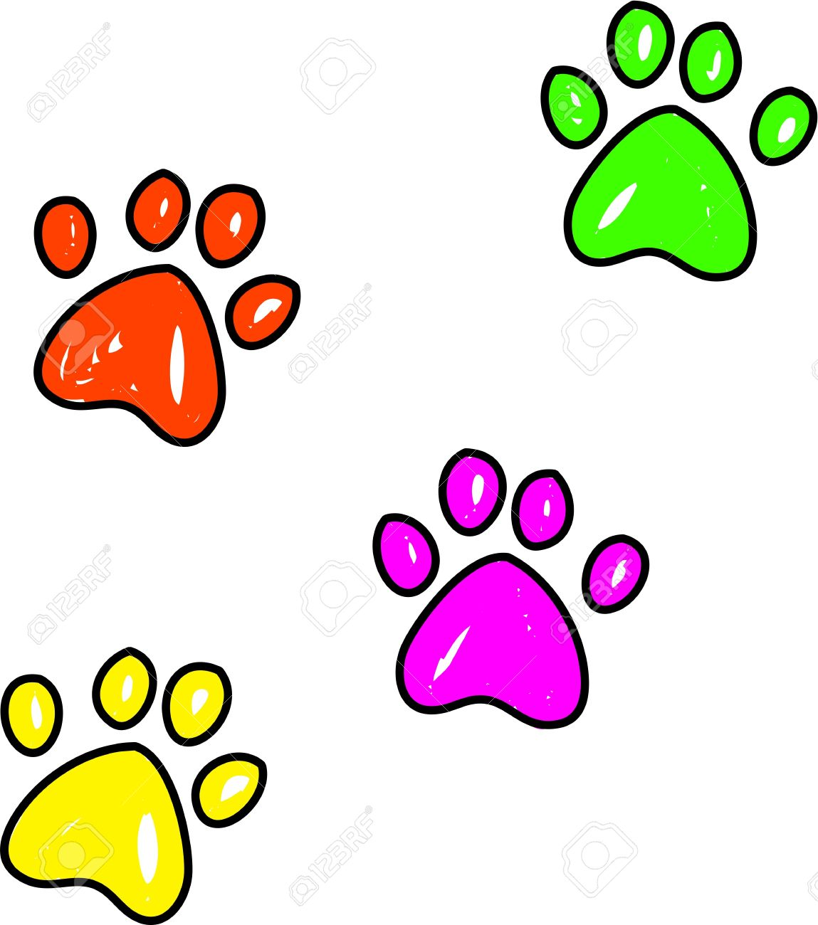 Colourful Whimsical Drawing Of Dog Paw Prints Isolated On White
