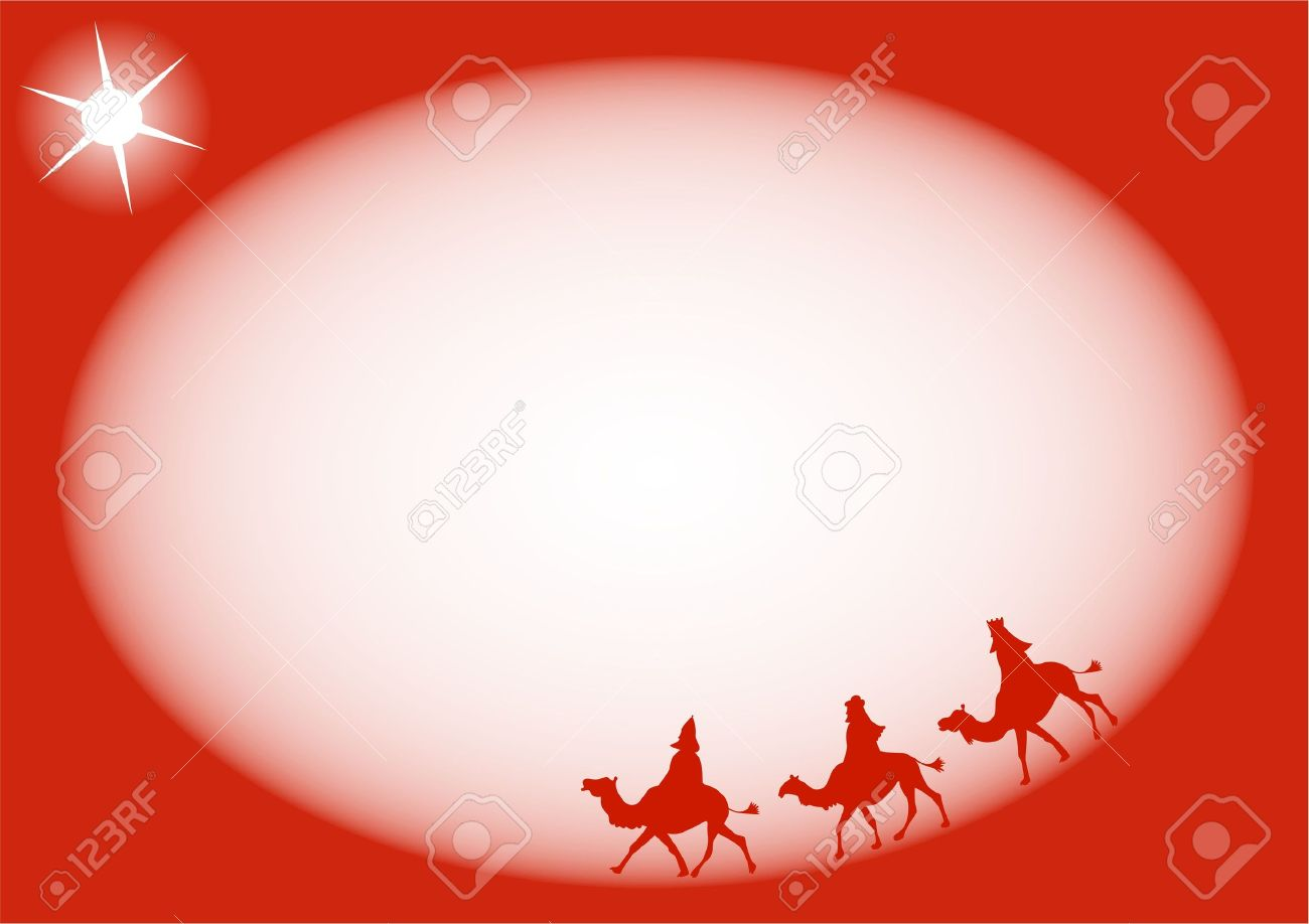 Simple Silhouette Three Kings Religious Christmas Page Border ...