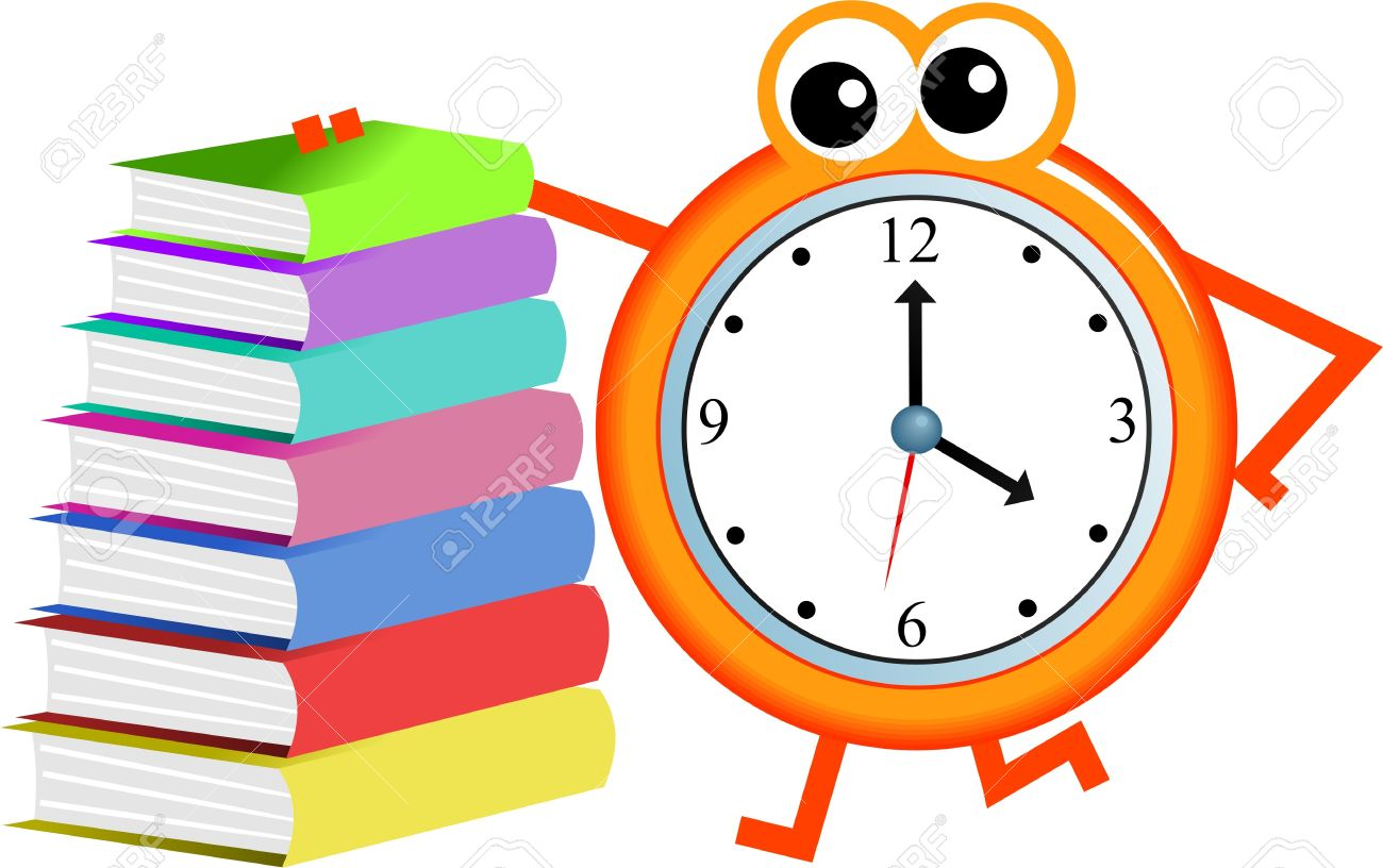 Cartoon Clock Man With A Stack Of Books Isolated On White Stock
