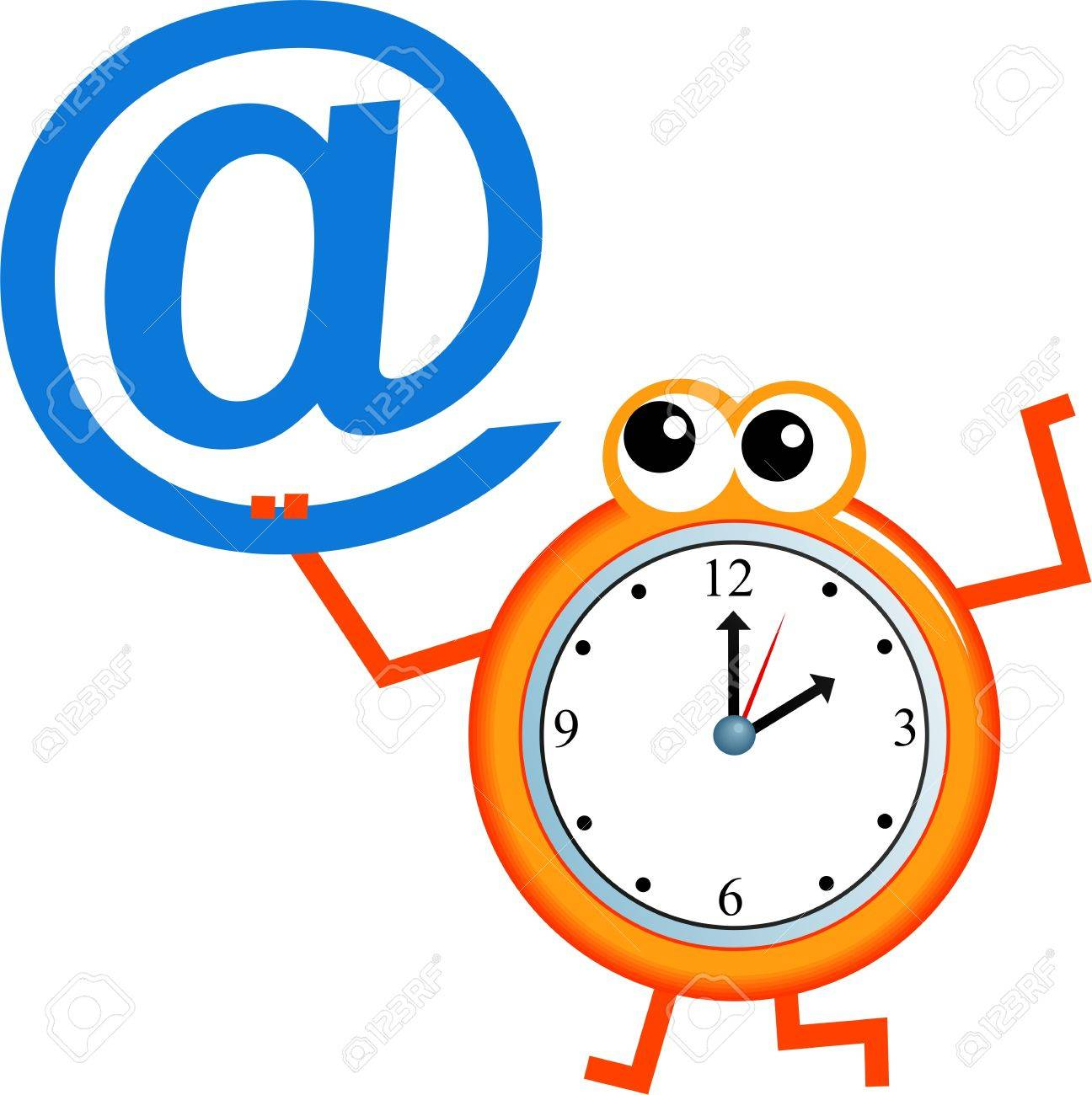 En Mensaje Cartoon Blanco Reloj Con Electrónico Símbolo Aislado De Correo Hombre Un SMVzpqU