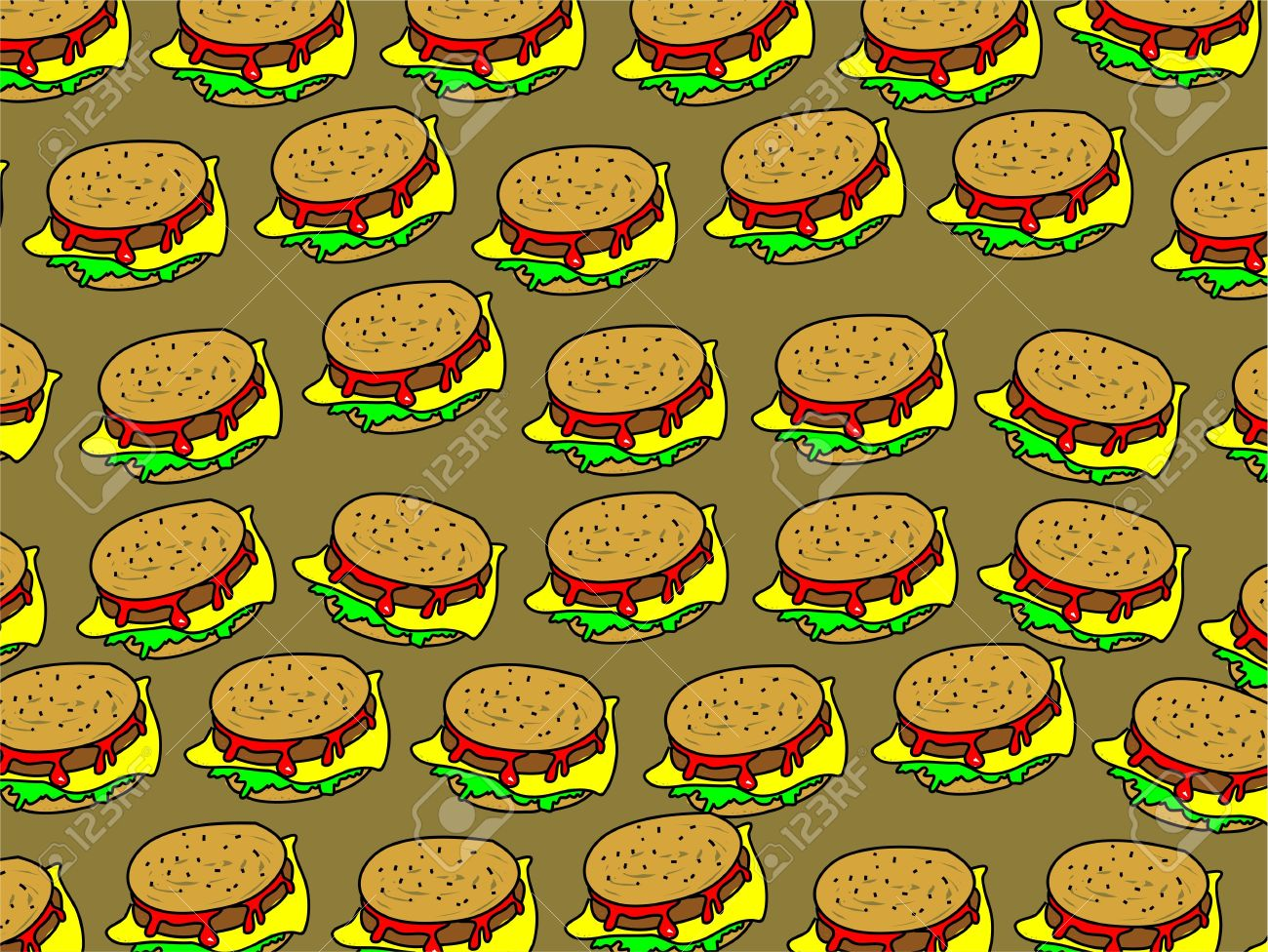 Tasty Salad Cheeseburger Snack Wallpaper Background Design Stock