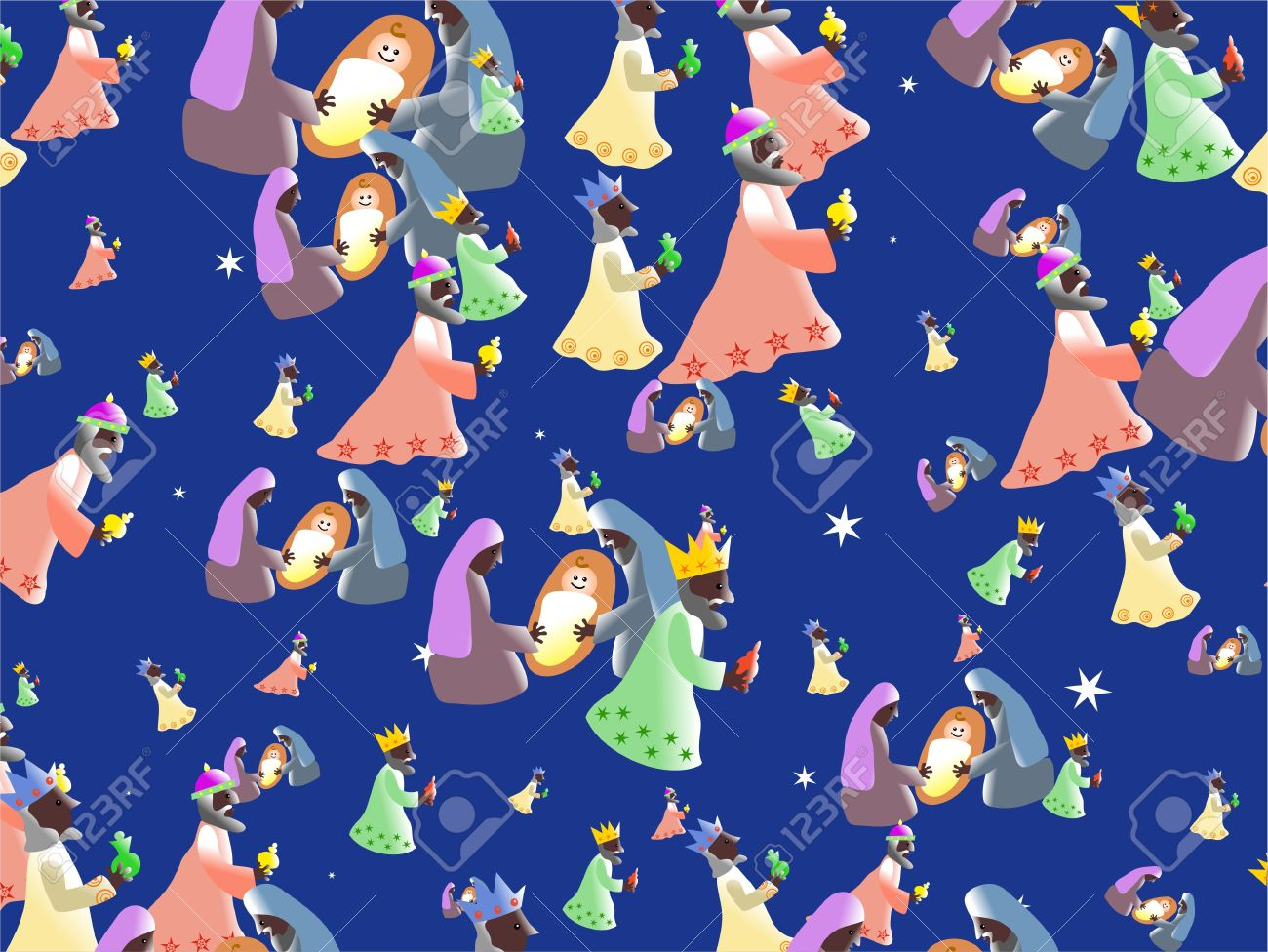 Christian Nativity Wallpaper Background With Mary And Joseph Baby Jesus Three Kings Bearing Gifts