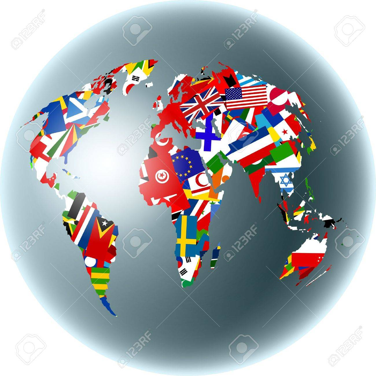 Map of the world set on a globe made up of various national flags map of the world set on a globe made up of various national flags stock gumiabroncs Gallery