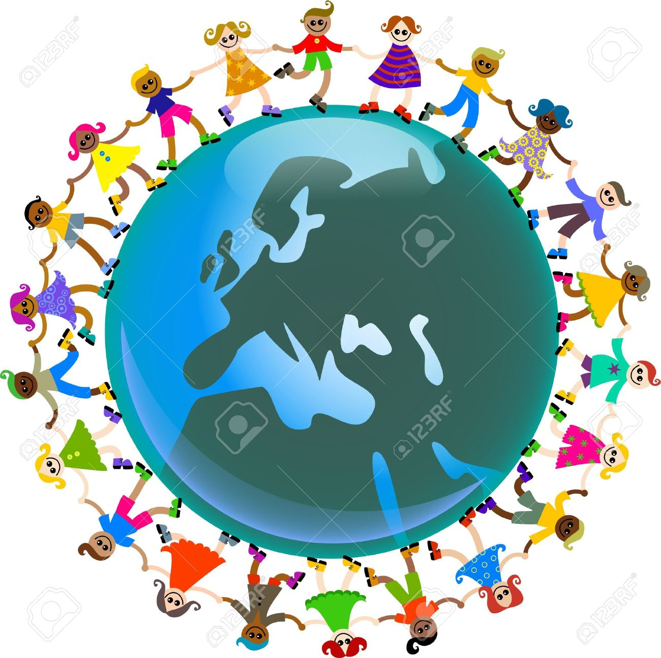A happy and diverse group of children holding hands around a globe featuring a map of Europe. - 5056945