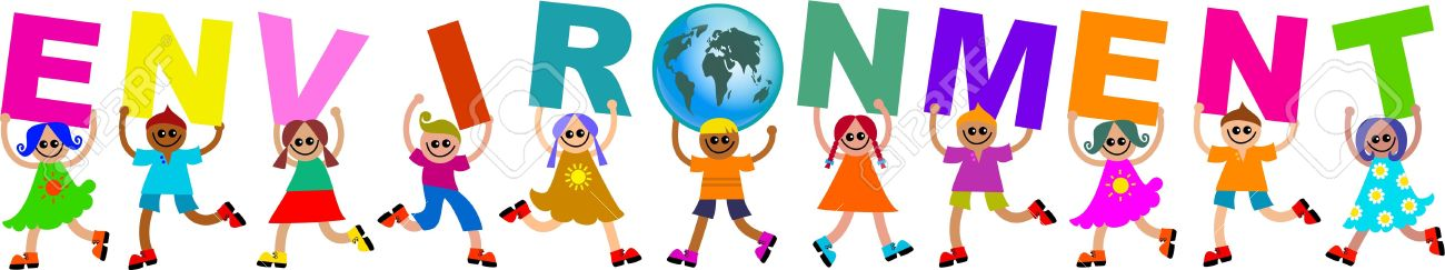 A group of happy and diverse children holding up letters that spell out the word ENVIRONMENT and replacing the letter O with a globe. Stock Photo - 5056941