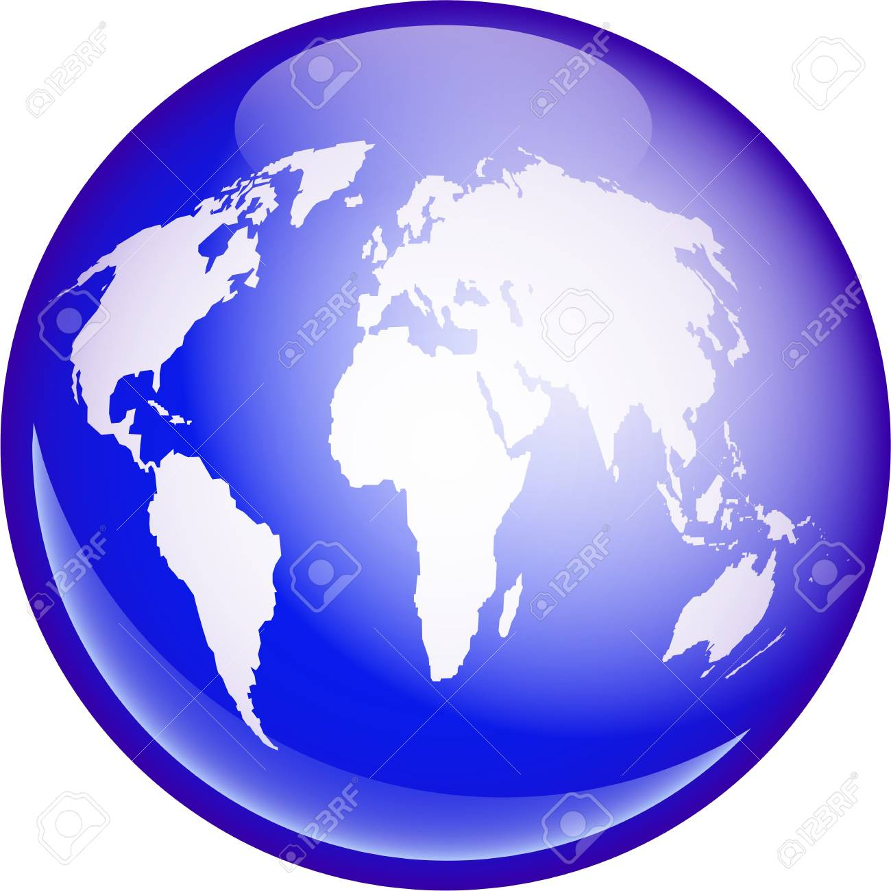 A Blue Globe Featuring A Map Of The Whole World Isolated On White ...