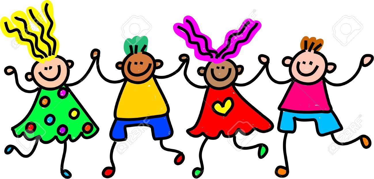 Whimsical Dibujo De Un Grupo Diverso De Niños Felices Y Tomados De