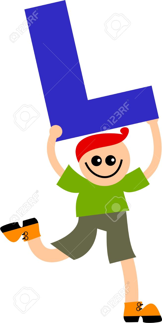 happy little caucasian boy holding a giant letter L. Stock Photo - 5538657
