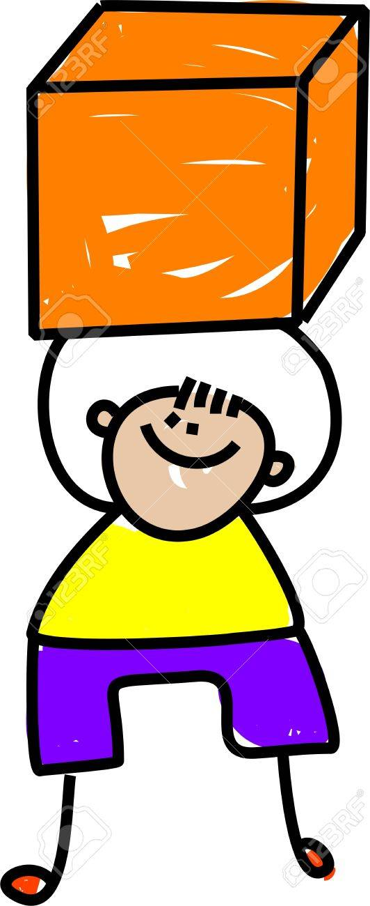 Cute cartoon illustration of a happy little boy holding a large cube shape. Stock Photo - 8789601