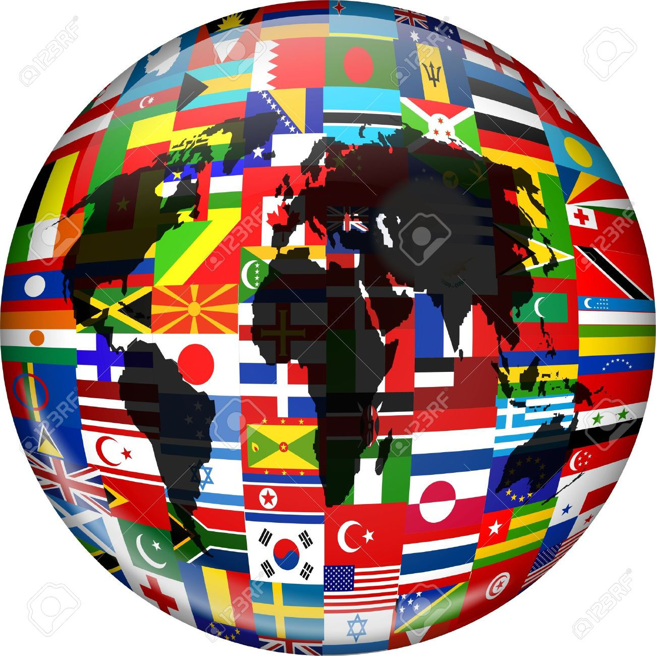 Colourful globe illustration made up of flags from all over the world and incorporating a world map. Stock Illustration - 8912838
