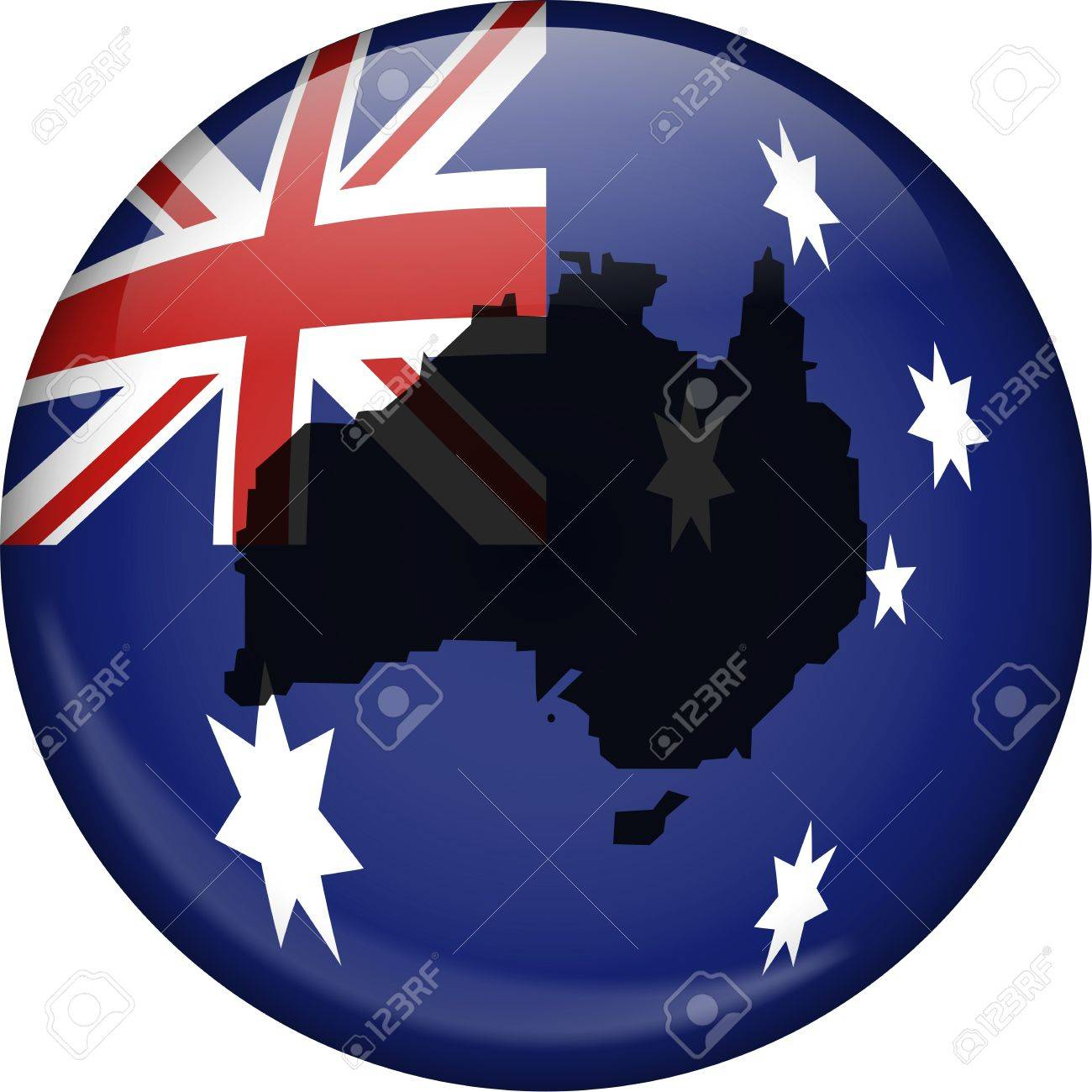 illustration of the flag of australia shaped like a globe with