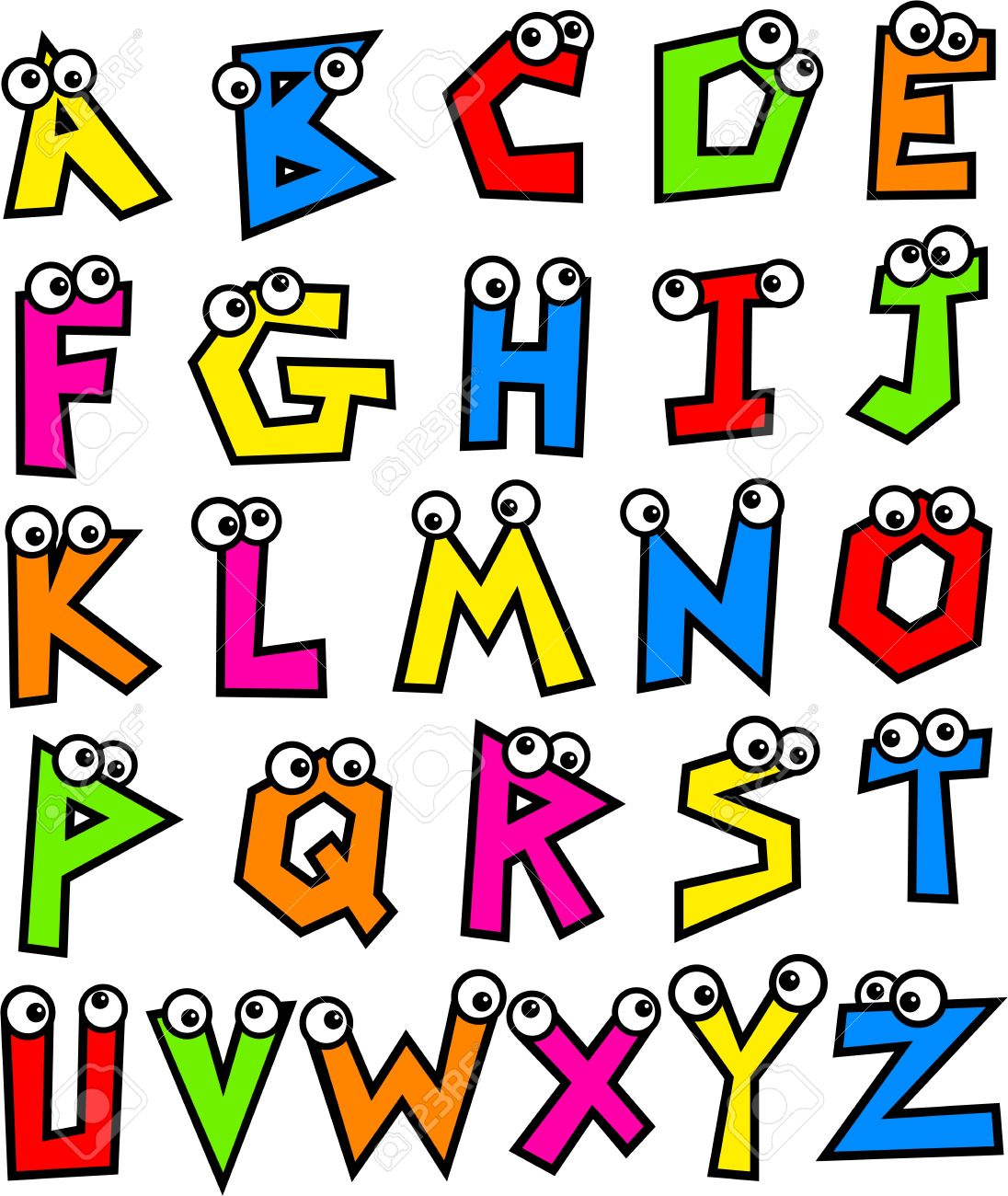 Funny Made Up Colourful Letters Of The Alphabet With Cute Cartoon Eyes Stock Photo
