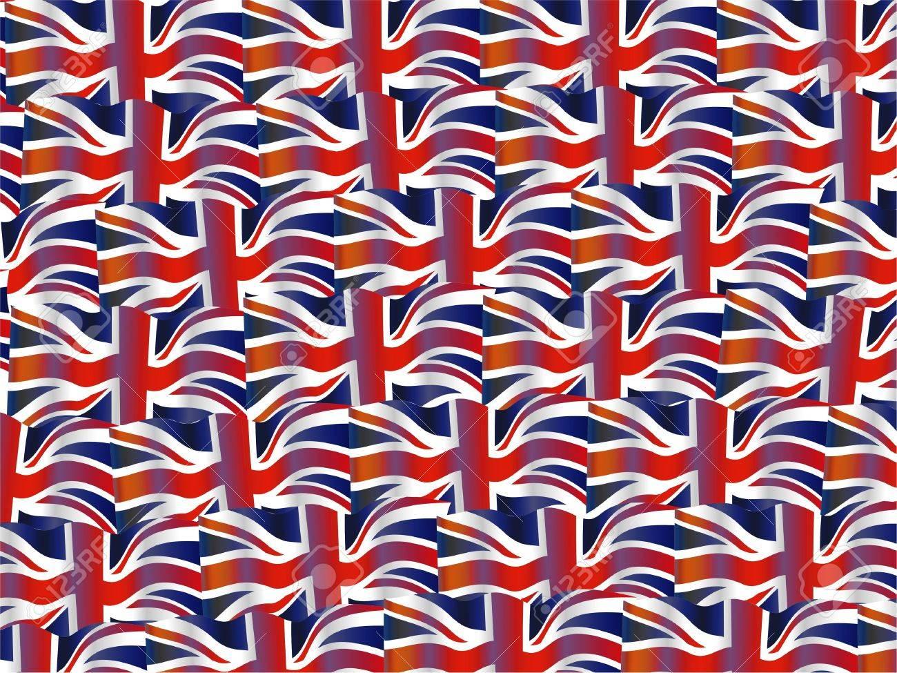 イギリスの波状のユニオン ジャックの旗のイラストの壁紙の背景の