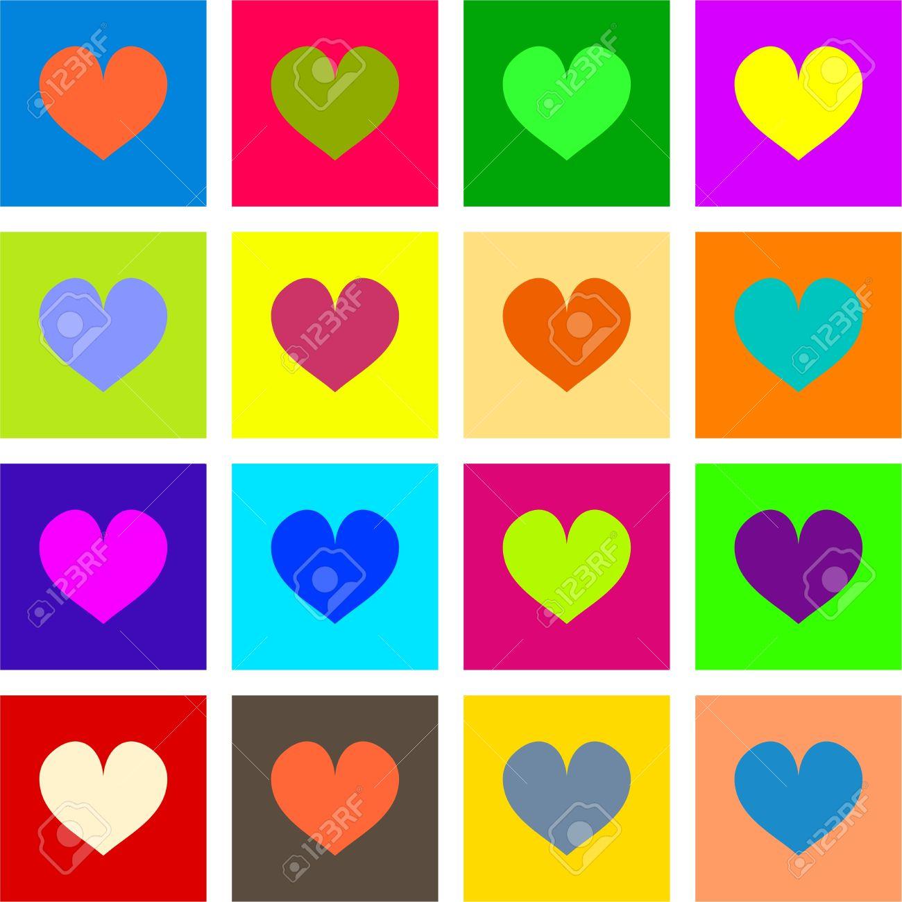 Künstlerische Pop-Art-Stil Herzen Formen In Verschiedenen Farben ...