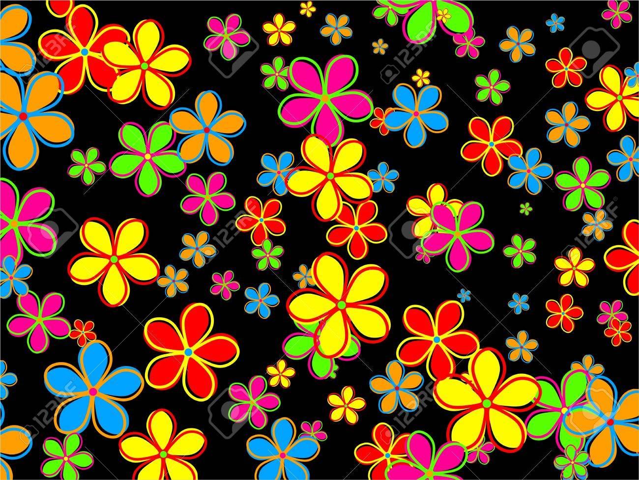 Papier Peint Chic Et Funky Compose De Fleurs Colorees De Style Retro