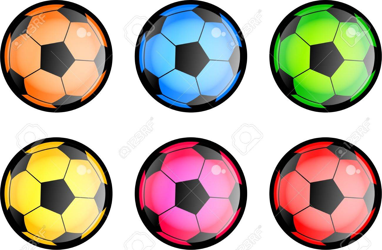 - A Set Of Six Glossy Style Soccer Balls In Different Colors