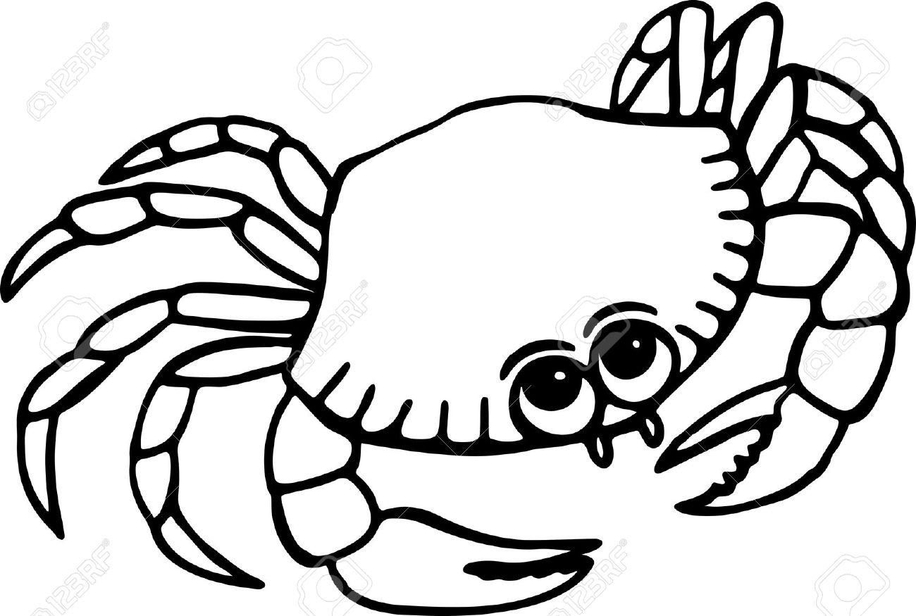 Simple Dessin Au Trait Noir Et Blanc D Un Crabe Sur La Plage De Bande Dessinée