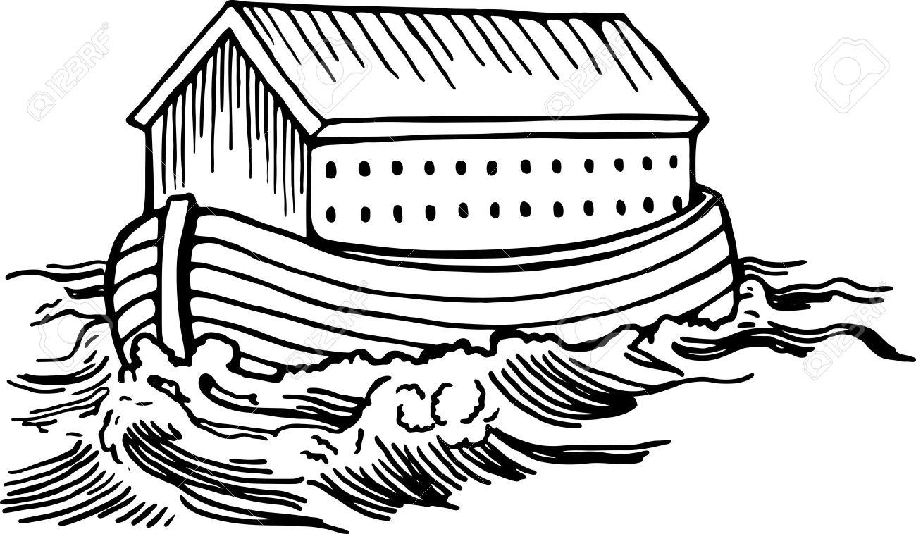 Dessin Au Trait Noir simple dessin au trait noir et blanc de noé bateau arche flottant