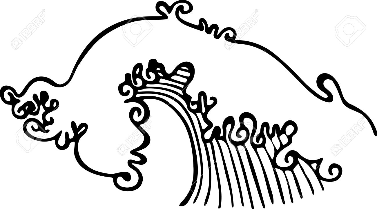 Simple black and white line drawing of a breaking ocean wave