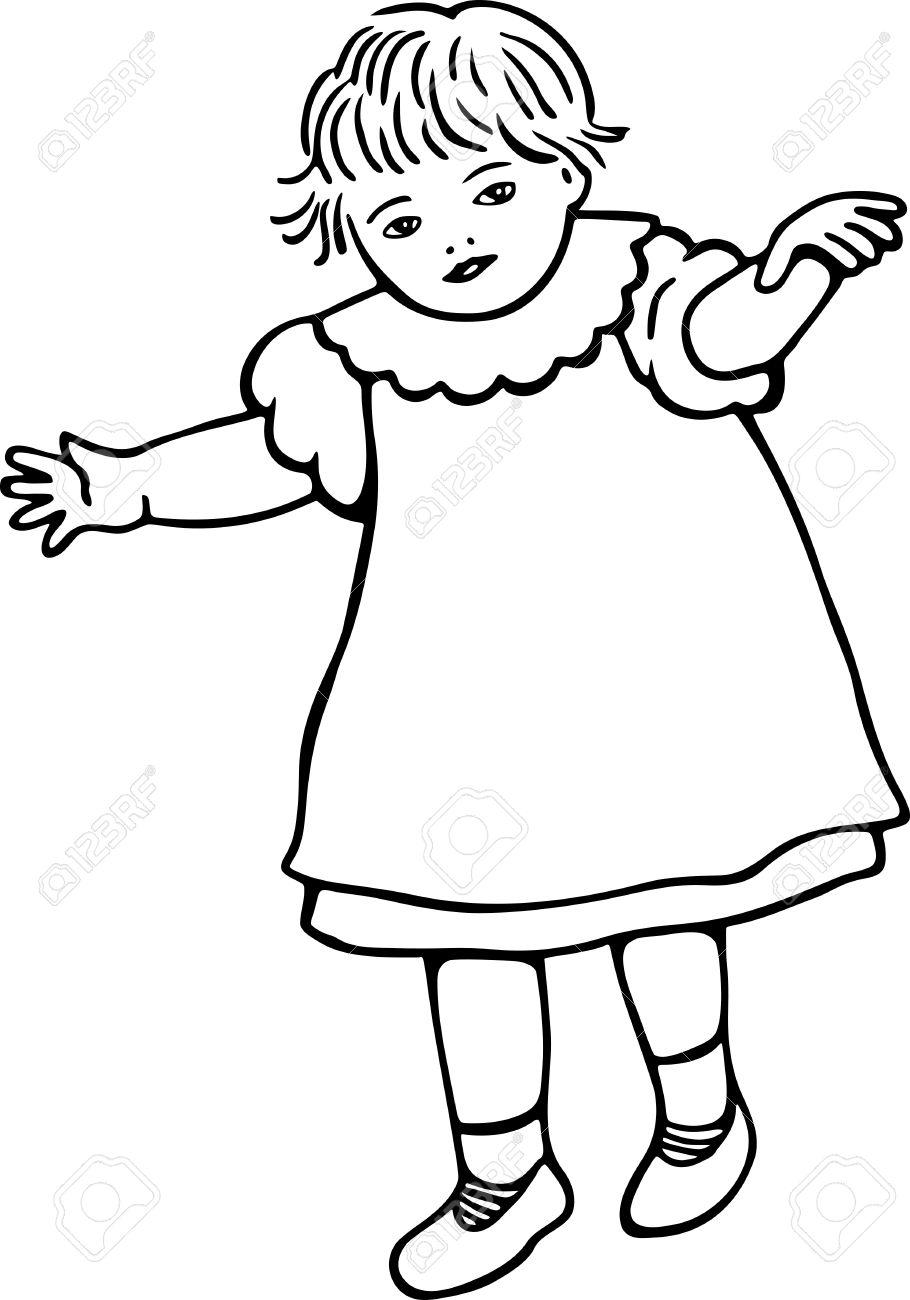 Simple Dessin Au Trait Noir Et Blanc Dune Petite Fille Bambin Qui Apprend à Marcher