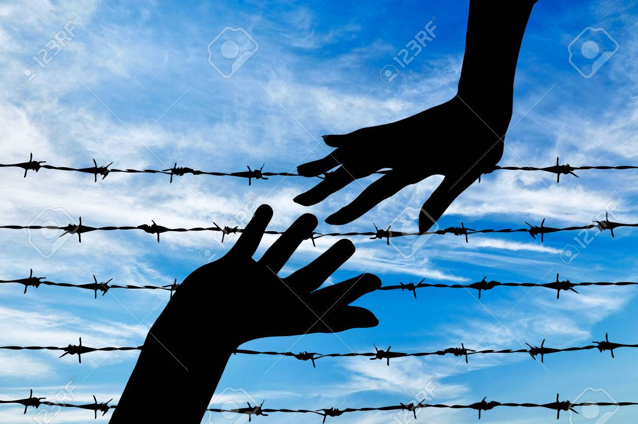 Concept Of Refugee. Silhouette Helping Hand To Refugees On The ...