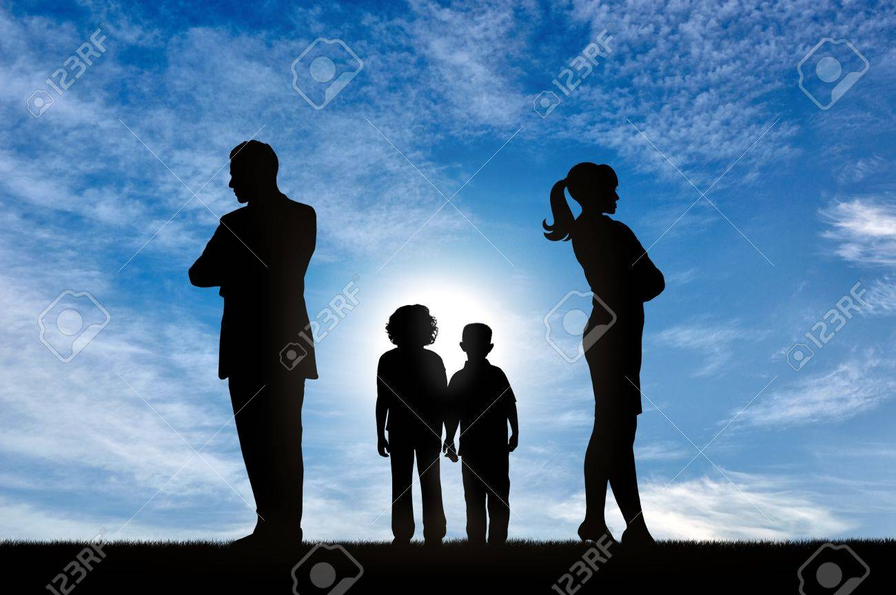 Conflict And Divorce In The Family Sad Children Can Not Choose Stock Photo Picture And Royalty Free Image Image 74415857