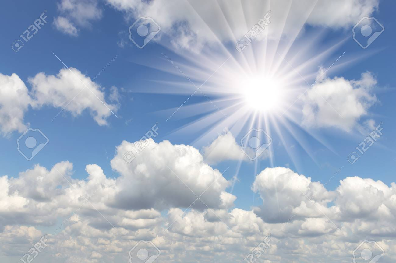 Beautiful Cloudy Sky With A Sun In The Afternoon Stock Photo ...