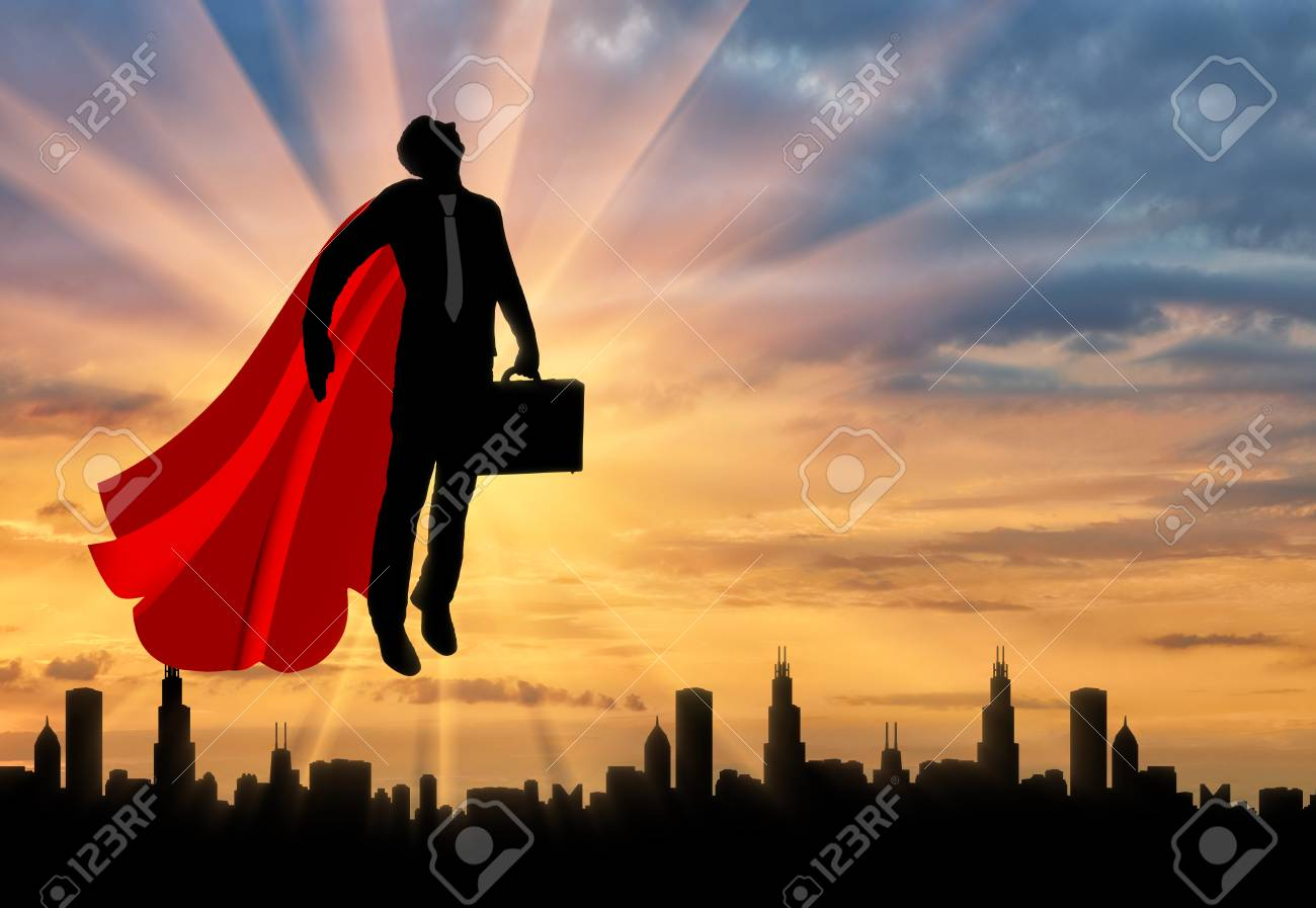 Superman businessman superhero silhouette of a superman businessman stock photo superman businessman superhero silhouette of a superman businessman with a briefcase flying in the sky over the city at sunset publicscrutiny Gallery
