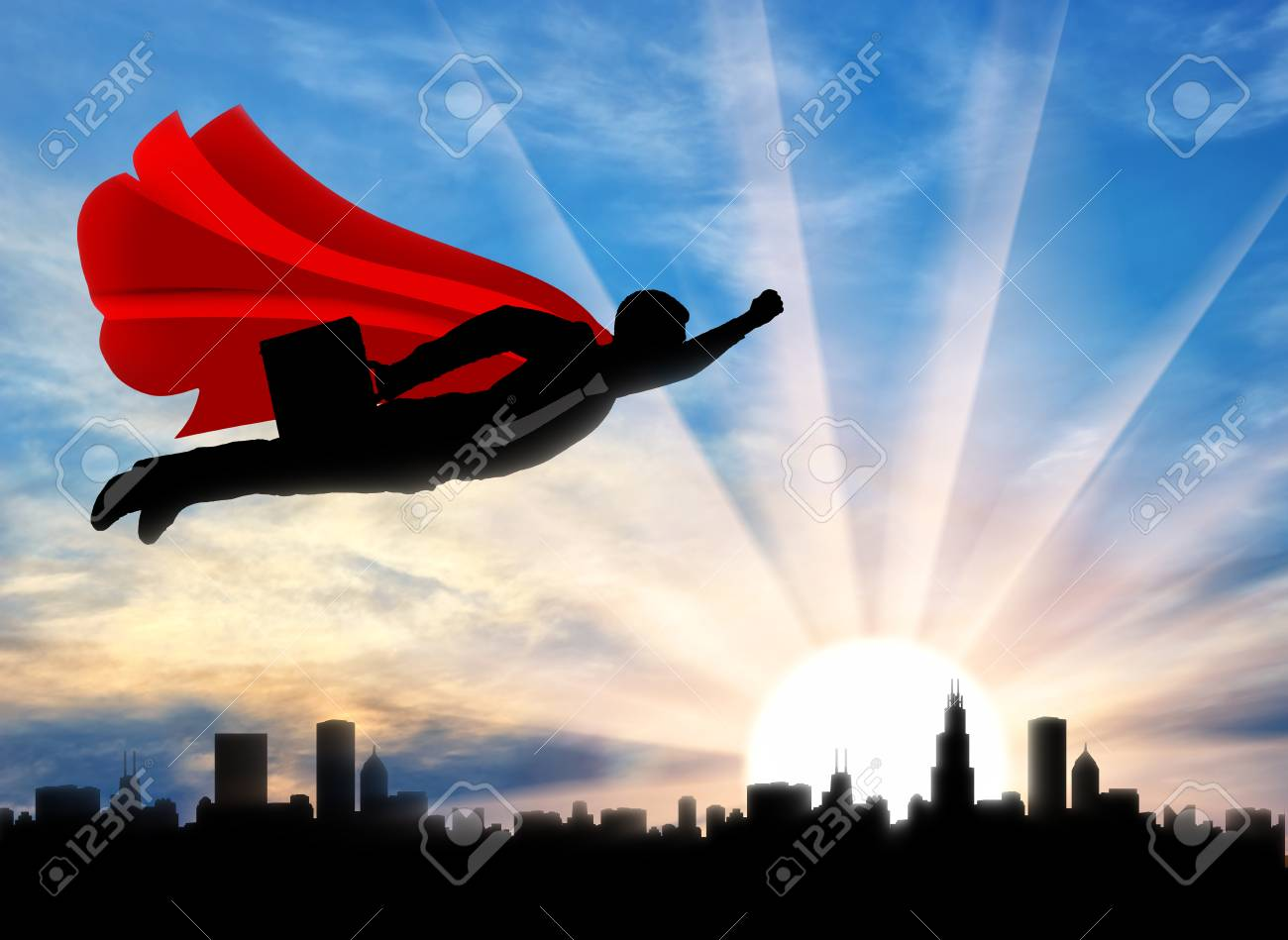 Superman businessman superhero silhouette of a superman businessman superman businessman superhero silhouette of a superman businessman with a briefcase flying in the sky publicscrutiny Images