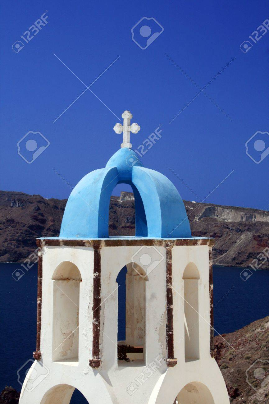 Traditional greek orthodox church belltower from the island of Santorini  - Greece Stock Photo - 2093888