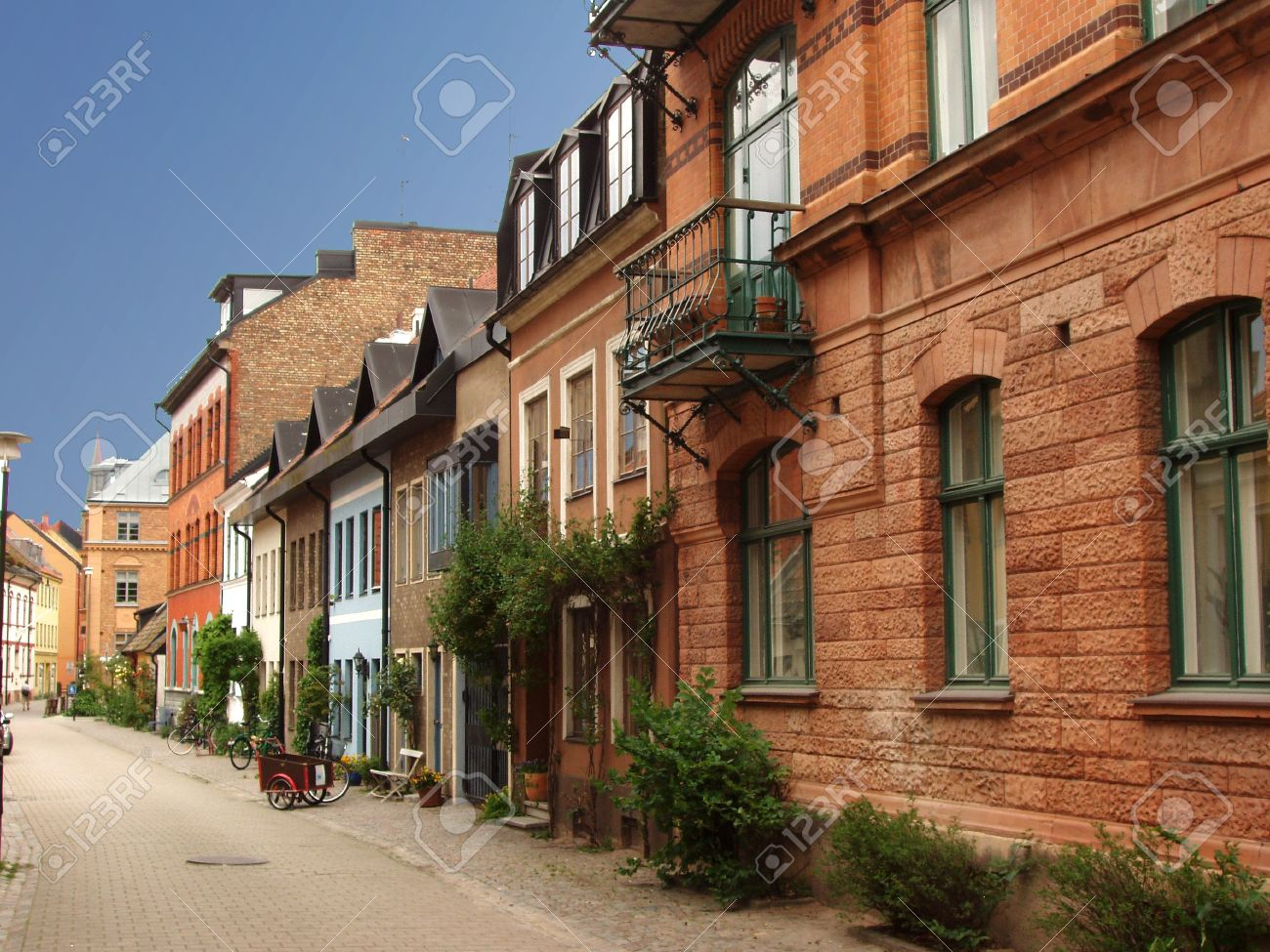 malmo, sweden. traditional swedish homes in old town. stock photo
