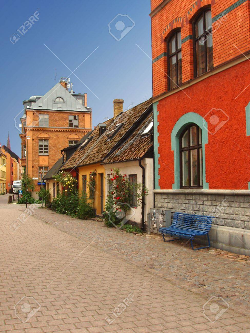 Malmo Sweden Traditional Swedish Homes In Old Town Stock Photo - Traditional swedish homes