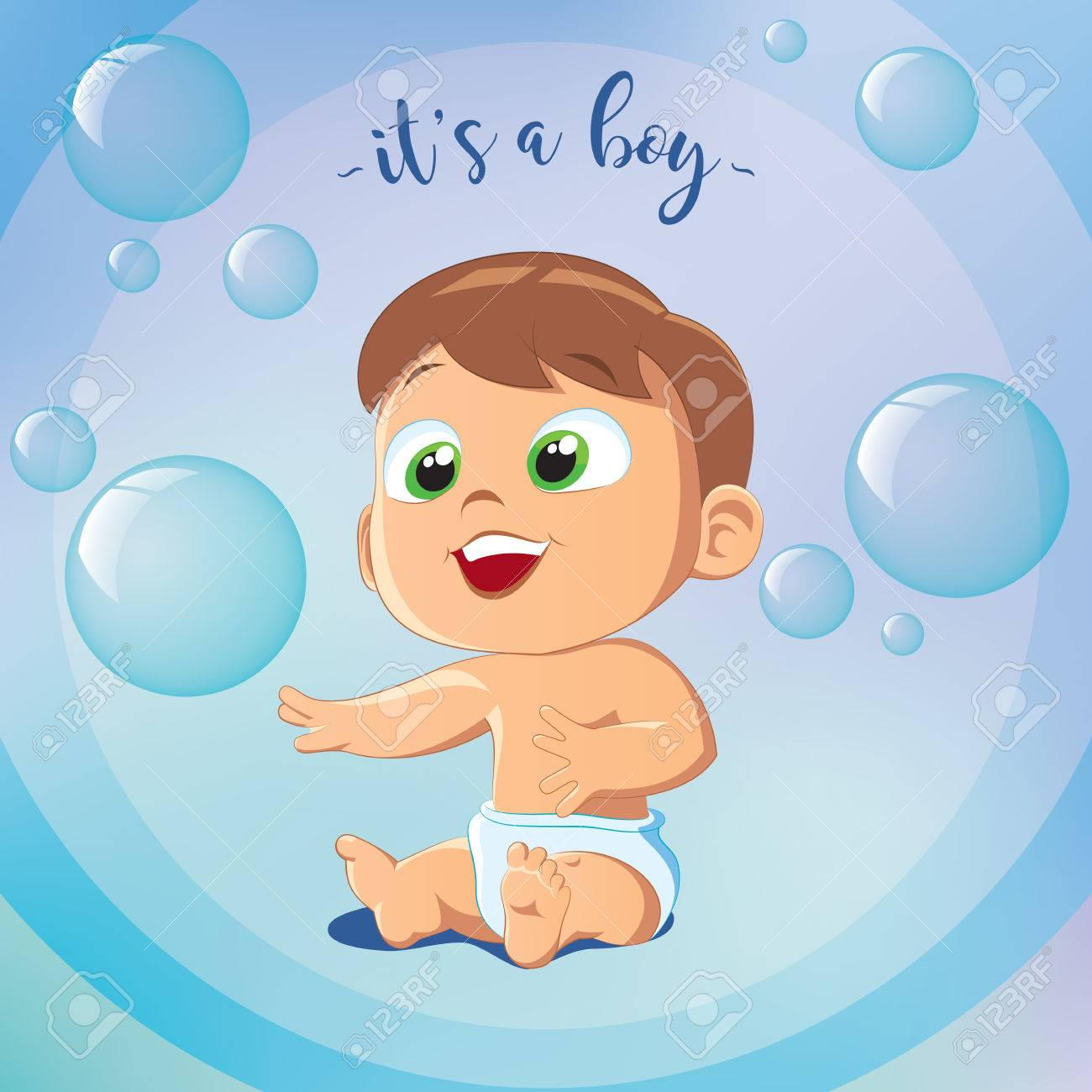 Its A Boy Happy Birthday Greeting Card Little Sitting On Floor Stock