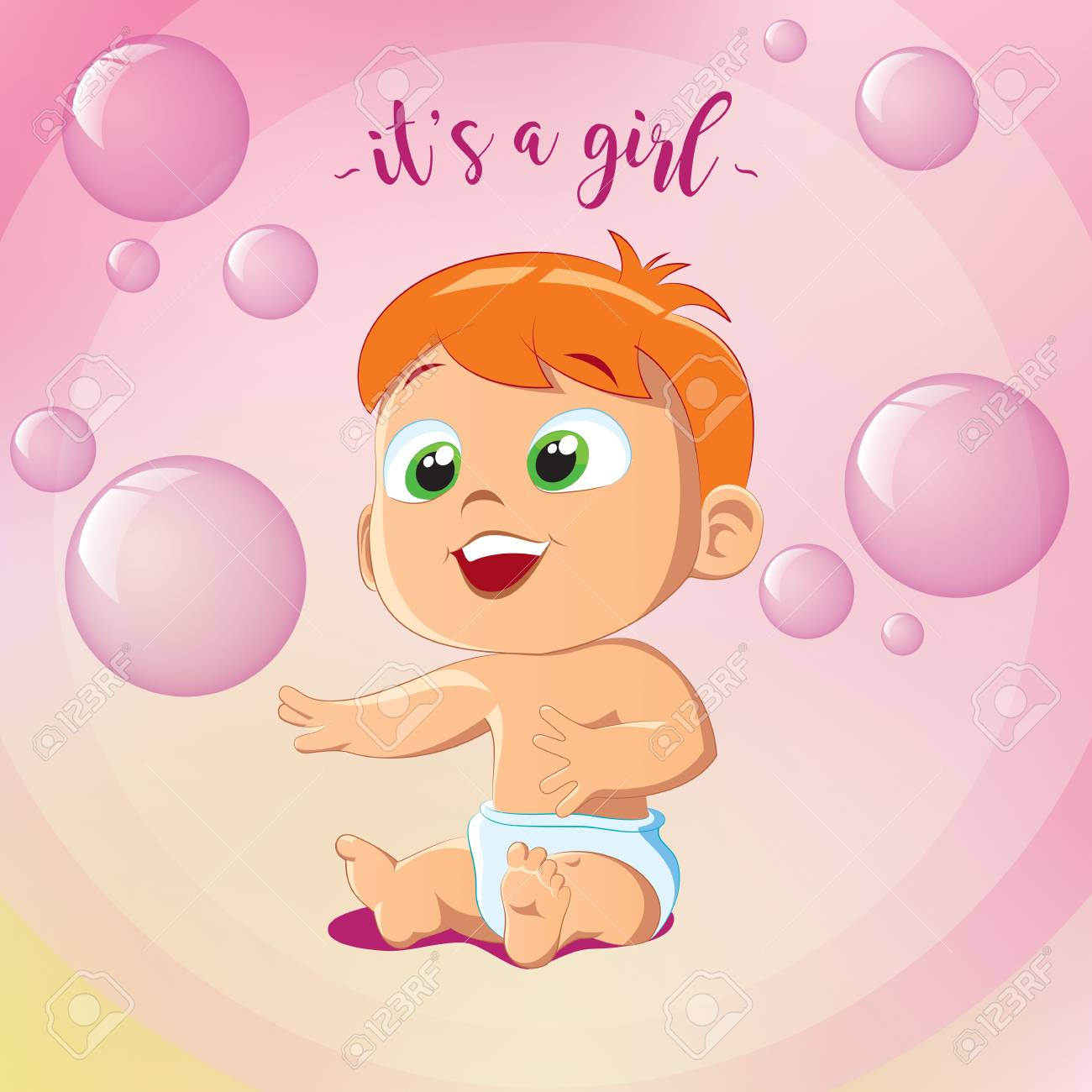 Its A Girl Happy Birthday Greeting Card Little Girl Sitting
