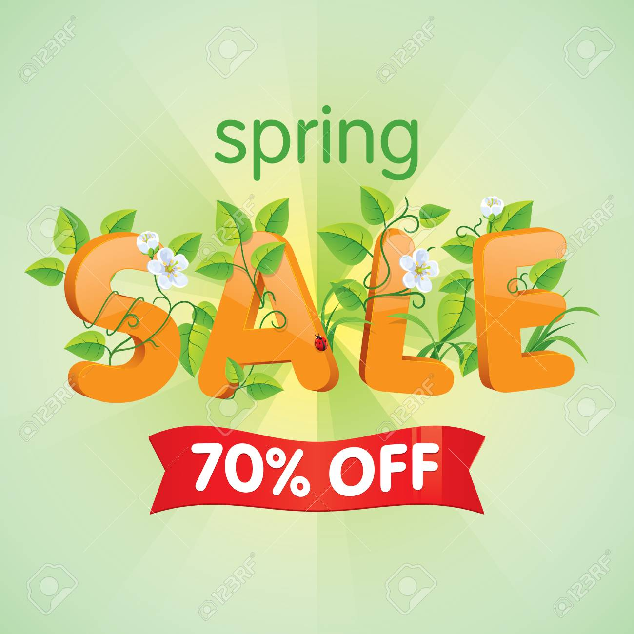 Spring Season Sale Seventy Percent Off Discount Decorated With