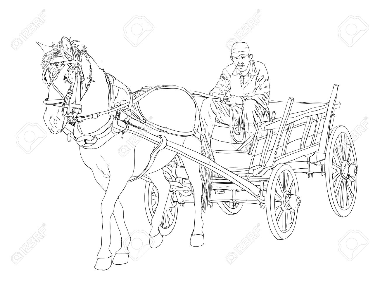 Horse cart sketch royalty free cliparts vectors and stock horse cart sketch stock vector 44760960 ccuart Choice Image
