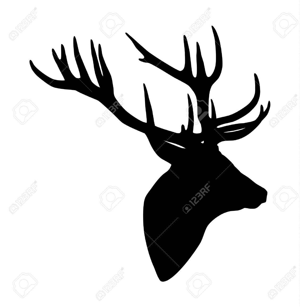Silhouette Noire D Une Tête De Cerf Et De Bois