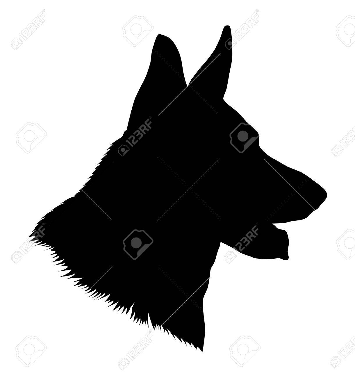 German Shepherd Dog Head Black And White Illustration Royalty Free