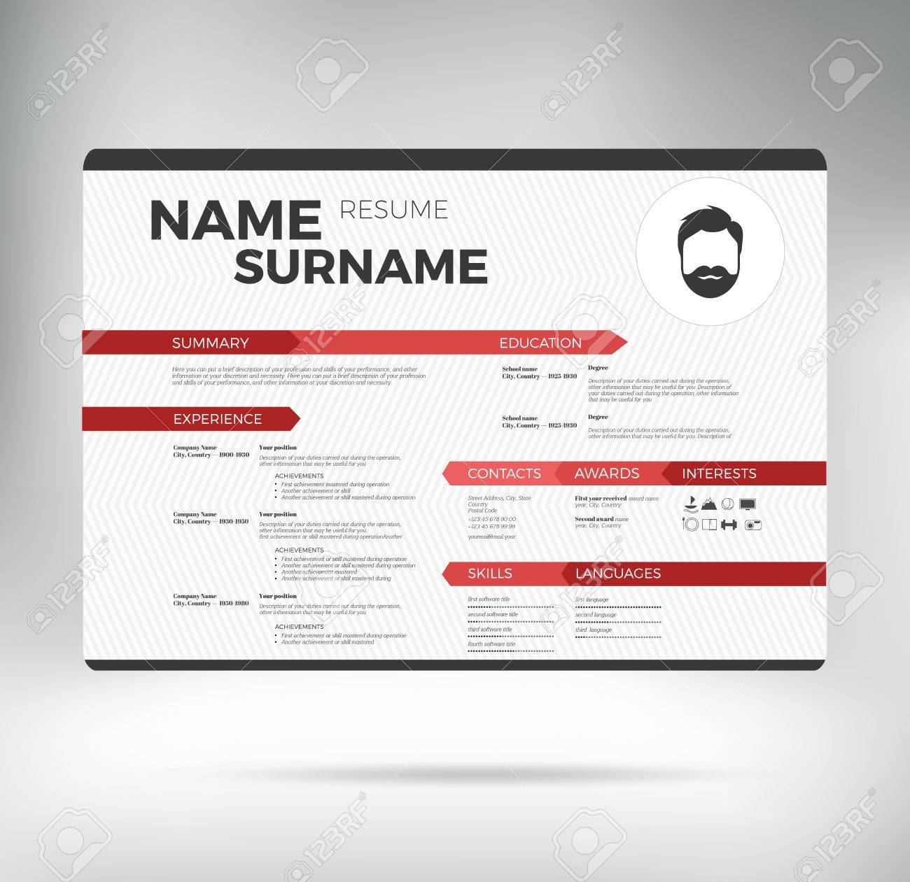 White With Red Modern Horizontal Minimalistic Personal Resume ...